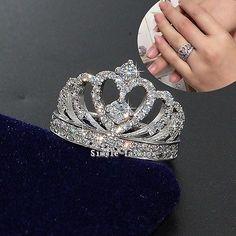Fashion Women Crown ring White sapphire Cz 925 Silver Eternity Wedding Band ring