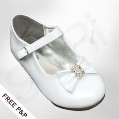 FLOWER GIRLS WHITE FORMAL SHOES WITH BOW CHRISTENING WEDDING BRIDESMAID SHOES #LittleTemptations #FormalShoes