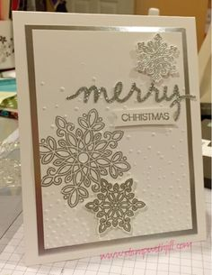 Jill's Card Creations: Silver Christmas; features Stampin Up's Flurry of Wishes and Holly Jolly Greetings stamp sets with coordinating snow flurry punch