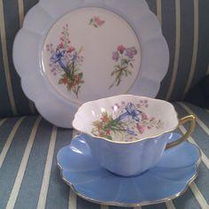 Shelley cornflower blue teacup, saucer, and plate!