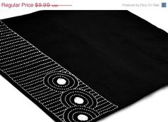 20% OFF Sale Black placemats - Ryoan ji Zen garden- Placemats in Linen Blend with Sashiko Hand Embroidery in white via Etsy