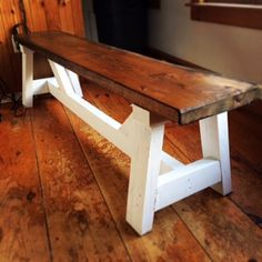 This farmhouse bench is an easy and inexpensive DIY project