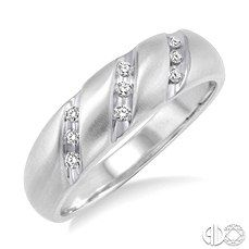 White Gold and Diamond Accented Men's Wedding Band