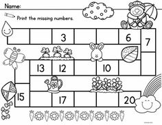 Spring Count to 20 includes 3 Math Center Activities and 10 Worksheets to reinforce counting and number order to 20.