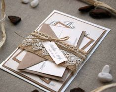 Invitación de boda rústica con encaje-muestra-BL103A