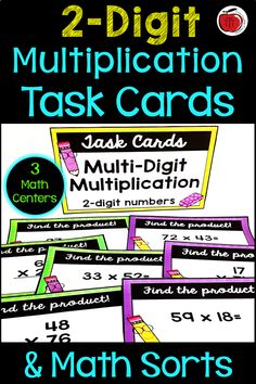 Multiplication Task Cards and Math Sorts Division Activities, Teaching Activities, Teaching Resources, Teaching Ideas, Fifth Grade Math, Sixth Grade, Fourth Grade, Teaching Multiplication, Comparing Numbers