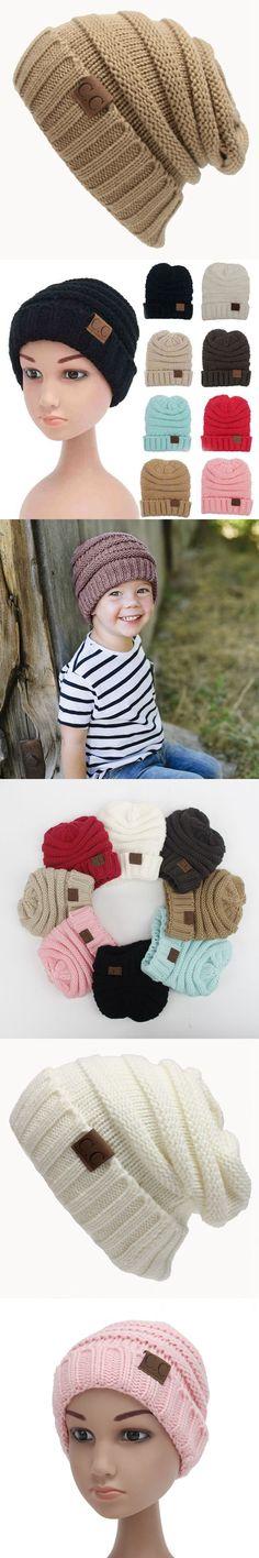 CC Beanie Children Winter Hats Casual Knitted CC Hat Fashion Warm Solid Caps Kids Skullies Beanies Cotton Cap Boys Girls Bonnet