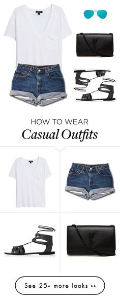 Saturday Casual by marta-isabella on Polyvore featuring MANGO, Ray-Ban, Yves Saint Laurent and Topshop: