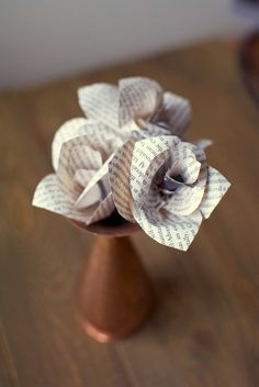 Book Page Paper Flowers