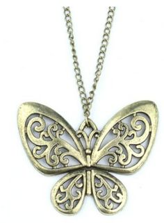 Bronze Butterfly Necklace $3 shipped FREE