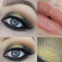 Antique Gold Smokey Eye + Peachy Nude Lip  Rimmel Nude Delight [click link for tutorial] http://youtu.be/DTSKTKBAj80