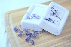 Homemade Lavender Soap Recipe.  Shea Butter Soap base Lavender (essential oil) Dried lavender flowers (optional) Mold Microwave Funnel