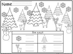 Winter or Christmas Math Worksheet freebie. Students count the objects and write the numbers.