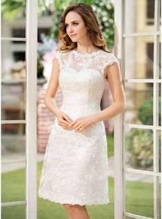 A-Line/Princess Scoop Neck Knee-Length Satin Lace Wedding Dress