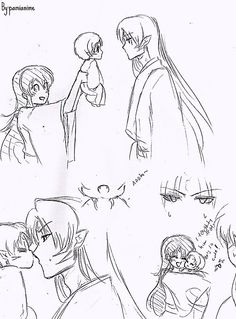 SessRin baby pt 2 xD! Lol Rin being all happy that she taught her baby to kiss on the nose haha xD Sesshomaru seems bothered! haha xDDD