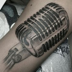 Realistic microphone tattoo . By:JAY2TATTS