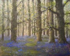 "For Sale: Spring Bluebell wood by John Paul | $1,610 | 10""w 8""h 