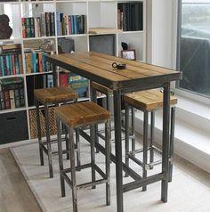 Artesanal a medida moderna Industrial acero mesa taburetes