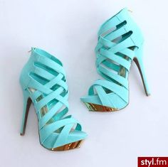 Light blue heels with gold bottom
