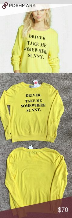 "NWT Wildfox Driver, Take Me Somewhere Sweatshirt Adorable NWT Wildfox Driver, Take Me Somewhere Sunny Sweatshirt size XS. Long sleeve Pullover in a sunny yellow color. Features distressed fleece with a scoop neckline. 47% nylon, 47% polyester and 6% spandex. Absolutely love this. 19.5 from underarm to underarm and 24"" long. Wildfox Sweaters"