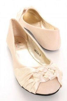 Nude Faux Leather Satin Knotted Front Closed Toe Flats