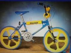 Oh how I loved my blue and yellow Raleigh BMX Burner. Vintage Bmx Bikes, Velo Vintage, Vintage Cycles, Retro Bikes, Vintage Cars, Cycling Art, Cycling Bikes, Cycling Quotes, Cycling Jerseys