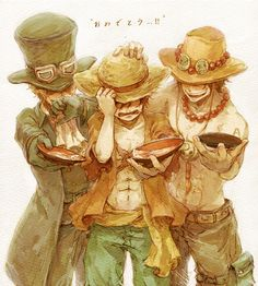 It keeps breaking my heart. Ace, Luffy and Sabo ❤. One Piece.