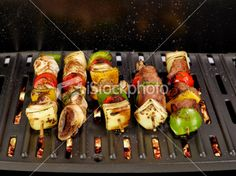 Barbeque Kebabs On A Grill . . .