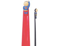 Shotton cleverly turns the shoehorn into the capes of tiny Superman and Batman figures, who help you slide your heels into your shoes.