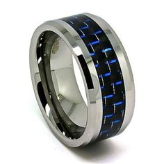 Blue Chip Unlimited -Extra Wide 10mm Designer Tungsten Carbide Black and Blue Carbon Fiber Mens Unique Wedding Rings Engagement Bands (Available in Sizes 7-17): Jewelry
