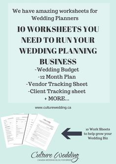 Wedding Work Sheet Templates for wedding planners! Grow your wedding planning business with our worksheets.