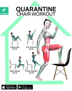 We have been around the house a lot lately and why not make it an effective day to work out our entire body. Grab a chair and give it a try to these workouts at home to target your upper and lower bod Full Body Gym Workout, Gym Workout Videos, Workout Days, Gym Workout For Beginners, Fitness Workout For Women, Butt Workout, Workout Challenge, Gym Workouts, At Home Workouts