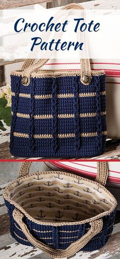 Cute lined crocheted tote has cables and glamor. Digital obtain crochet. Crochet pattern for a tote, shopping or shoulder bag. Lined for extra strength Ravelry: Anchors Aweigh Tote b Crochet Halloween - Cuadro a crochet # 1 en punto popcorn paso a paso pa Crochet Shell Stitch, Crochet Tote, Crochet Handbags, Crochet Purses, Crochet Gifts, Crochet Baby, Free Crochet, Bobble Stitch, Crochet Summer