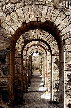 Arched passageway underneath the Temple of Trajan.