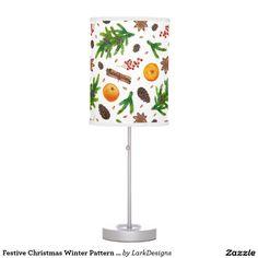 Festive Christmas Winter Pattern Berries Spices Desk Lamp