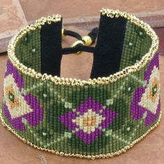 BRACELET/CUFF Floral Seed Bead Loom Cuff  Purple Green by TealEves