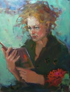 """""""The Plot Thicken"""" Kim roberti's 6x8 Contemporary Realism Figure Portrait of a Reader., painting by artist Kim Roberti"""