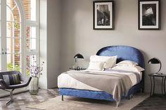 An indigo velvet divan and headboard add character to this strikingly simple bedroom. Bedroom Furniture, Home Furniture, Bedroom Decor, Peacock Blue Bedroom, Best Interior, Interior Design, Condo Design, Bedding Inspiration, Dream Bedroom
