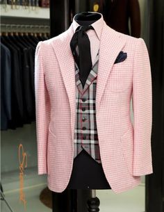 pink - Men's sport coat, vest, shirt and tie. Cool.
