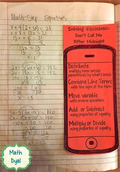 This phone was a great addition to our interactive notebooks and helped students remember the steps for solving equations. When you pass the… - New Site Solving Linear Equations, Algebra Equations, Maths Algebra, Math Math, Two Step Equations, Equation Solving, Math Fractions, Math Games, Math Teacher