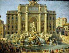Fontana di Trevi dipinta da uno dei maestri delle vedute e delle fantasie architettoniche romane, Giovanni Paolo Pannini, che restituisce nel 1750 questa vivace meraviglia...