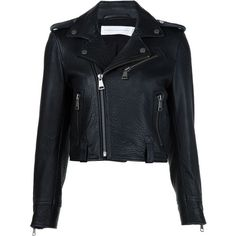 Victoria Victoria Beckham cropped biker jacket (84,185 INR) ❤ liked on Polyvore featuring outerwear, jackets, black, genuine leather jackets, rider leather jacket, biker jackets, real leather jackets and cropped jacket