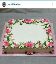 Square Birthday Cake, Birthday Sheet Cakes, 21st Birthday Cakes, Birthday Cake For Women Elegant, Elegant Birthday Cakes, Birthday Cakes For Women, Wedding Sheet Cakes, Sheet Cake Designs, Foto Pastel