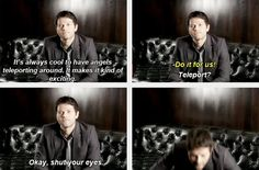 (gif set) Misha Collins Teleports haha this is why he's my favorite :)