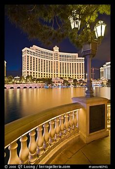 Lamp reflection lake and Bellagio hotel at night, Las Vegas, Nevada by © QT Luong, posted via terragalleria.com