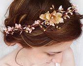bridal hair piece, pink and gold wedding, flower crown, bridal hair accessory, pink floral headpiece -SERAPHIM- bridal headband, hair vine