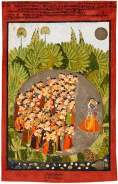 Krishna Admonishes the Gopis ca. 1725 - 1750. Indian, Rajasthan, Kota 18th century.