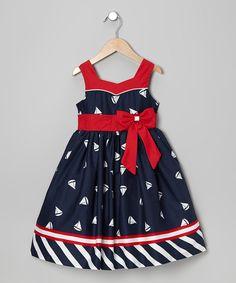 Look at this Jayne Copeland Navy & Red Bow Sash Sailboat Dress - Toddler & Girls on today! Toddler Girl Dresses, Toddler Outfits, Kids Outfits, Toddler Girls, Toddler Fashion, Fashion Kids, Fashion 2016, Little Girl Dresses, Girls Dresses