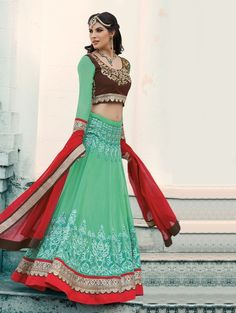 Green Georgette Lehenga Choli with Resham Embroidery Work