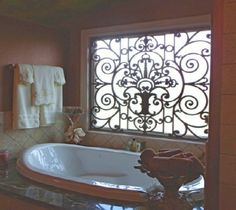 Wrought iron that's not, weighs less, holds up inside/outside, easier to install and costs less iron window treatment Window Valence Valences For Windows, Do It Yourself Design, Iron Windows, Wrought Iron Decor, Window Grill, Bathroom Windows, Glass Bathroom, Tuscan Decorating, Window Coverings